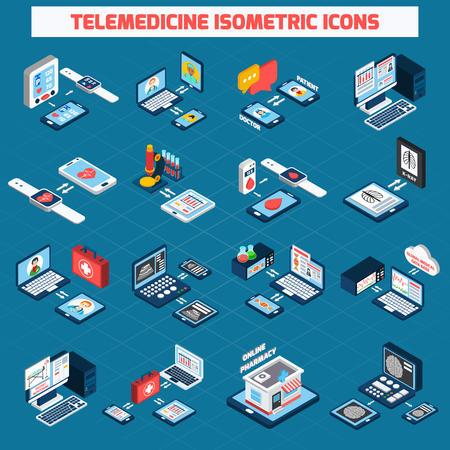 Iconos isométricos de telemedicina establecidos con dispositivos de salud digitales 3d aislados ilustración vectorial