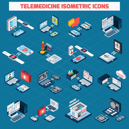 Isometrische Ikonen der Telemedizin, die mit digitalen 3D-Gesundheitsgeräten eingestellt wurden, lokalisierten Vektorillustration
