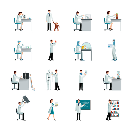 artificial intelligence: Scientists decorative flat color icons set with men and women doing research in laboratory on white background isolated vector illustration