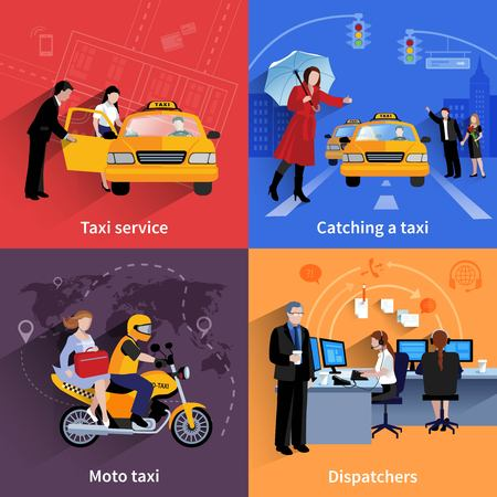 Set of 2x2 banners of taxi service system including dispatchers moto taxi and ordinary taxi flat vector illustration