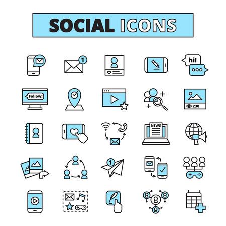 Iconos de línea de redes sociales establecidos para la comunicación por correo electrónico de la comunidad de Internet y la red de grupo comparten ilustración vectorial aislada