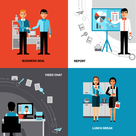 Business office concept 4 flat icons square composition banner with  videoconference and lunch break abstract isolated vector illustration