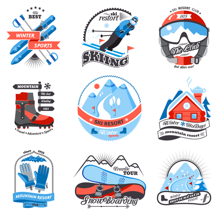 extreme sport: Ski resort emblems set with snowboarding and sled labels isolated vector illustration