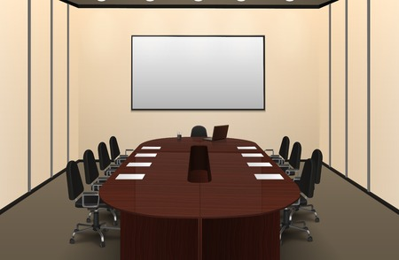 Conference room interior with big table and screen realistic vector illustration