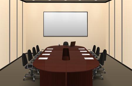 sala de reuniones: sala de conferencias entre otras con mesa grande y la ilustración vectorial realista pantalla Vectores