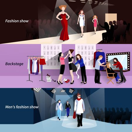 male and female: Fashion model horizontal banner set with flat show backstage elements isolated vector illustration