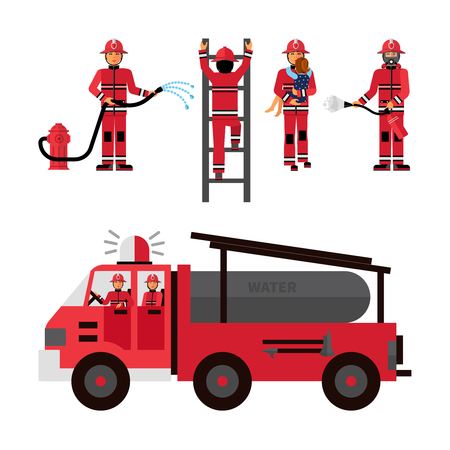 brigade: Firefighter flat color icons set on white background with firetruck and fireman brigade isolated vector illustration Illustration