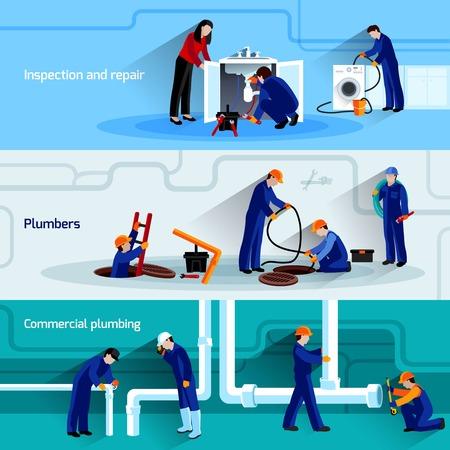 Loodgieter horizontale banner die met waterleidingen inspectie en reparatie platte elementen geïsoleerd vector illustratie Vector Illustratie