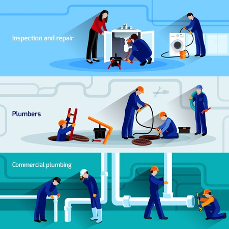 washstand: Plumber horizontal banner set with water pipes inspection and repair flat elements isolated vector illustration Illustration