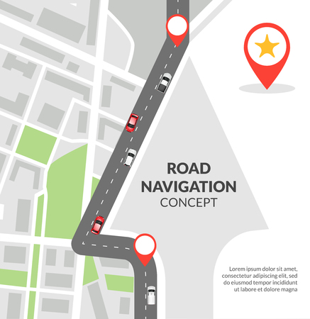 Road navigation concept with city map with pins and road with cars flat vector illustration