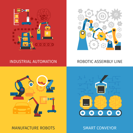 Industrial automation robotic assembly line 4 flat icons square composition design abstract isolated vector illustration Ilustração