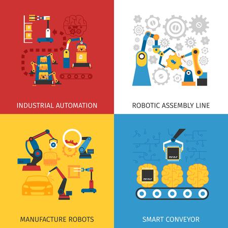 Industrielle Automatisierung Robotermontagelinie 4 flache Ikonen quadratischen Komposition Design abstrakte isoliert Vektor-Illustration