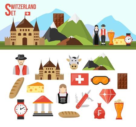Zwitserland symbolen ingesteld met platte pictogrammen van voedsel geld en mensen geïsoleerd vector illustratie