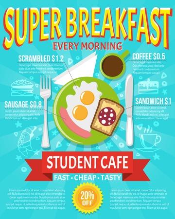 ナイフ フォークとプレート フラット ベクトル図と学生カフェの朝食ポスター