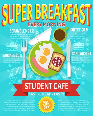 Breakfast poster for a student cafe with knife fork and plate flat vector illustration