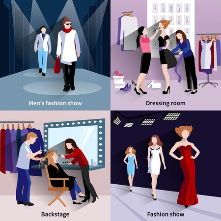 supermodel: Fashion model design concept set with catwalk and backstage flat icons isolated vector illustration
