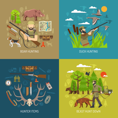 hunting season: Hunting 2x2 design concept set of boar and duck hunting and hunter  ammunition items flat vector illustration