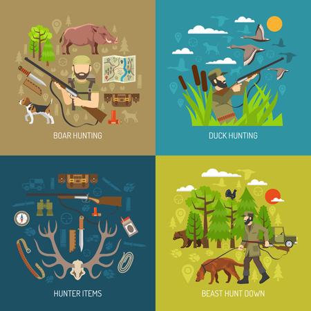 Wildschwein: Jagd 2x2 Design-Konzept Satz von Eber und Entenjagd und J�ger Munition Artikel Flach Vektor-Illustration Illustration