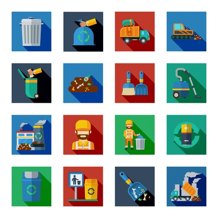 waste basket: Disposal of waste colorful square icons set with vacuum cleaner  battery garbage basket bulldozer dump truck isolated vector illustration Illustration