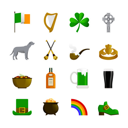 whisky: Ireland flat color decorative icons with leprechaun green hat and shoe rainbow pot with gold irish terrier and bottle of whisky