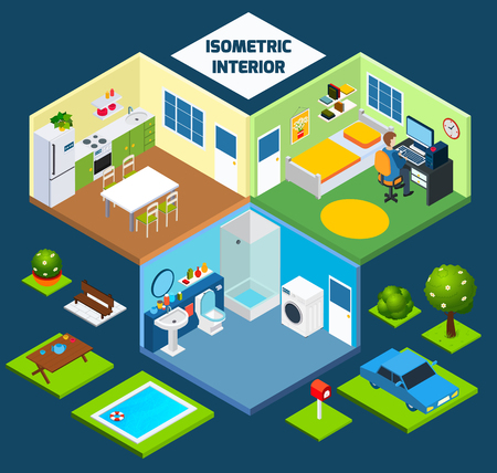 outdoor furniture: Isometric interior concept with indoor furniture and outdoor elements vector illustration