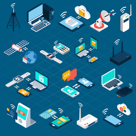 wireless communication: Wireless technologies isometric icons set with mobile communication devices 3d vector illustration