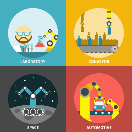 Robotic arm design concept set with laboratory space and automotive conveyor flat icons isolated vector illustration