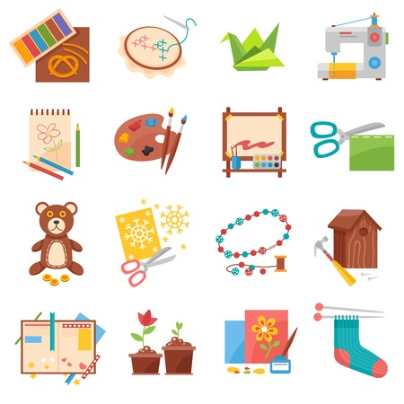 Hobbies flat icons set with sewing origami making and beading isolated vector illustration