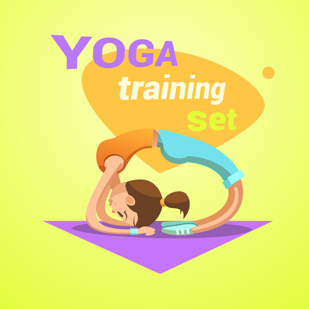 pretty young girl: Yoga retro cartoon with young pretty girl practicing stretching workout vector illustration