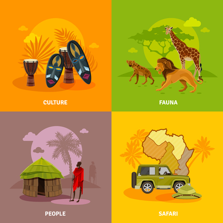 tree service business: Africa concept icons set with culture fauna and people symbols cartoon isolated vector illustration Illustration