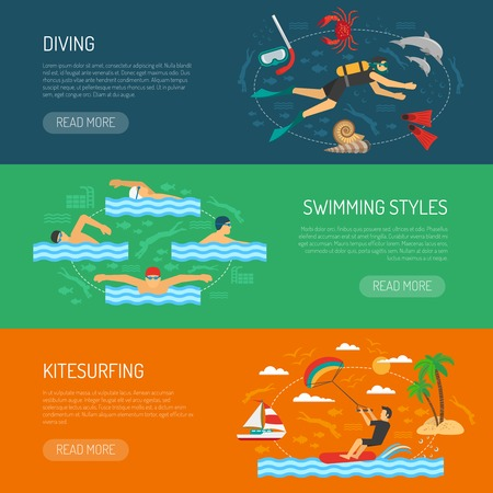 diving board: Water sport horizontal banners set of diving swimming styles and kite surfing compositions vector illustration Illustration