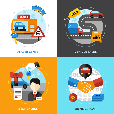 Car dealership 2x2 design concept set of dealer center vehicle sale buying automobile flat vector illustration