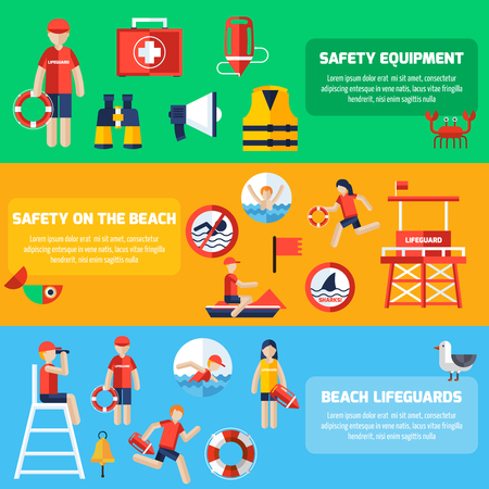 aid: Beach lifeguards station service and safety equipment information 3 flat horizontal banners set abstract isolated vector illustration