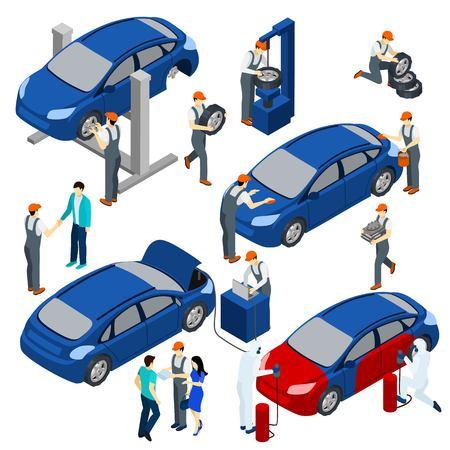 Servicio auto concepto isométrica conjunto con las piezas de repuesto y los símbolos de mantenimiento aislado ilustración vectorial