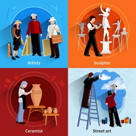 Flat 2x2 images set of artists sculptor ceramist and street art painters vector illustration