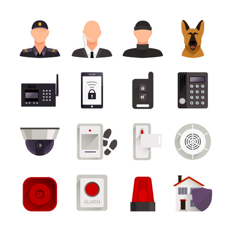 systems: Home security flat decorative icons set with guard dog video camera and digital electronic systems for home protection isolated vector illustration