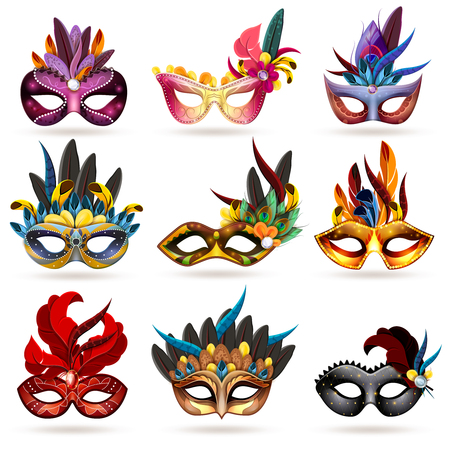 teatro mascara: Máscara iconos realistas fijaron con plumas y joyas aisladas ilustración vectorial Vectores