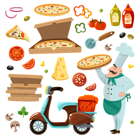 Pizza cartoon set with vegetables cheese and mushrooms isolated vector illustration