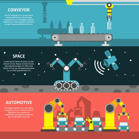 car factory: Robotic arm horizontal banner with space and automotive conveyor flat elements isolated vector illustration
