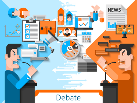 candidates: Elections and voting flat color composition with public debates of candidates in foreground and media icons in background vector illustration Illustration