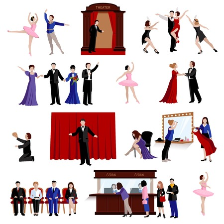 theater audience: Flat images set of scenes with theater people from ballerina and actors to spectators isolated vector illustration Illustration