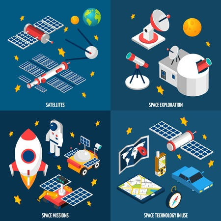 exploration: Isometric composition abot space exploration with different equipment with dark background vector illustration