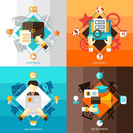 Lebenslauf 2x2 flache Design-Konzept Satz von Portfolio Job Search Layout und elements.Vector Kompositionen Vektor-Illustration