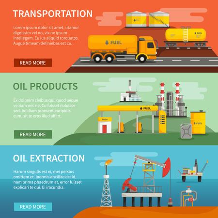 extraction: Flat horizontal banners set of oil petrol industry segments extraction transportation and products vector illustration