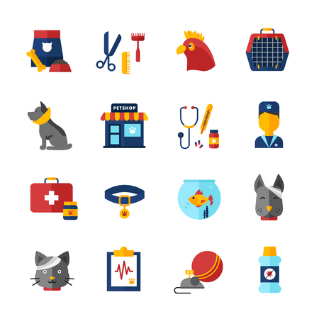 animal feed: Pet vet decorative icons set with home animals pet shop medical bag collar and animal feed isolated vector illustration