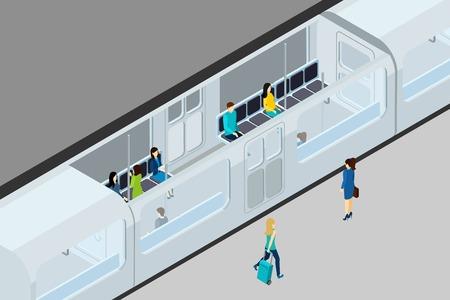 asiento: la gente de metro y tren con el tren entre asientos y la ilustración vectorial isométrica