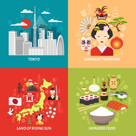 Japan concept icons set with Tokyo and Japanese food symbols flat isolated vector illustration