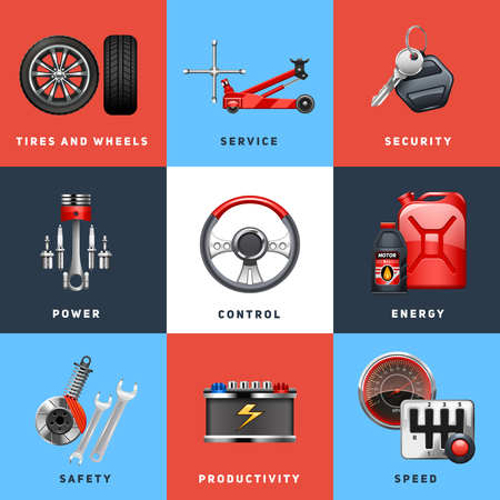 car service: Car auto service safety control for trucks and cargo vehicles equipment flat icons set abstract isolated vector illustration