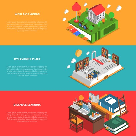 librarian: Books horizontal isometric banners set with distance learning symbols isolated vector illustration