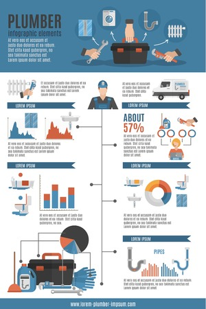 plumber tools: Plumber service infographic layout with tool box emergency car repairman icons and technical maintenance statistics flat vector illustration Illustration